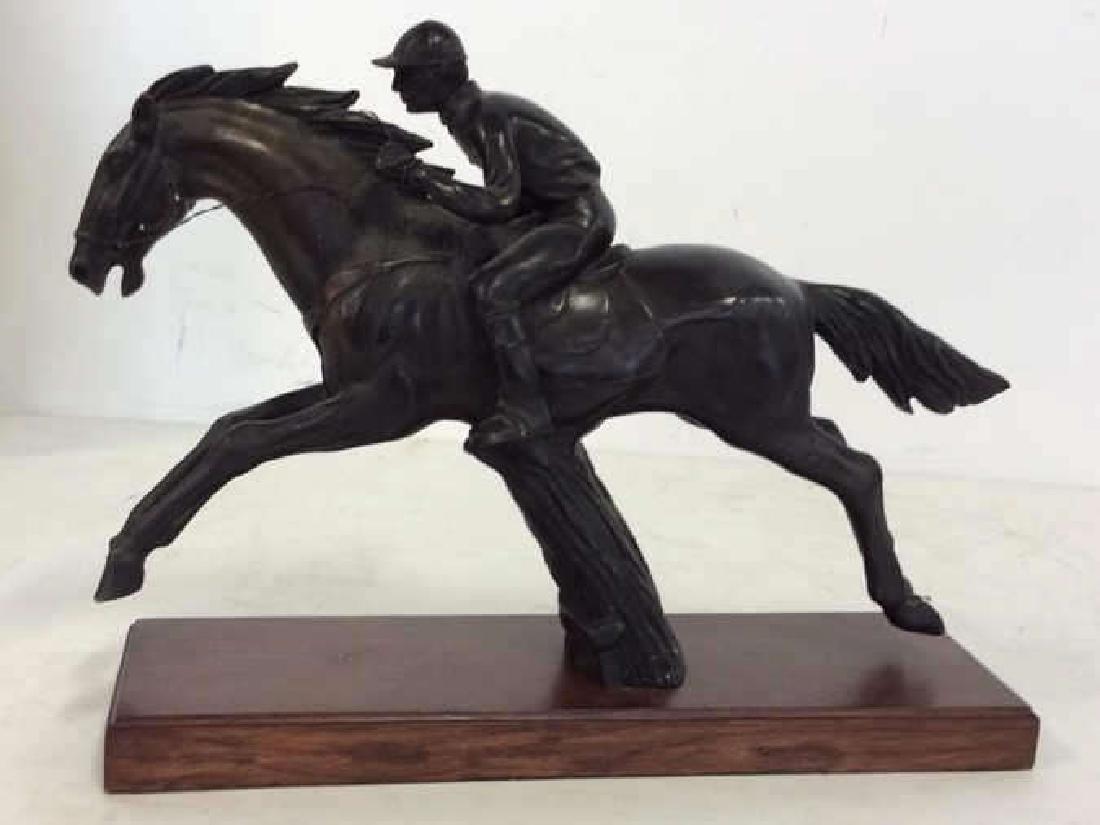 Metal Sculpture Jockey atop Racing Horse - 6