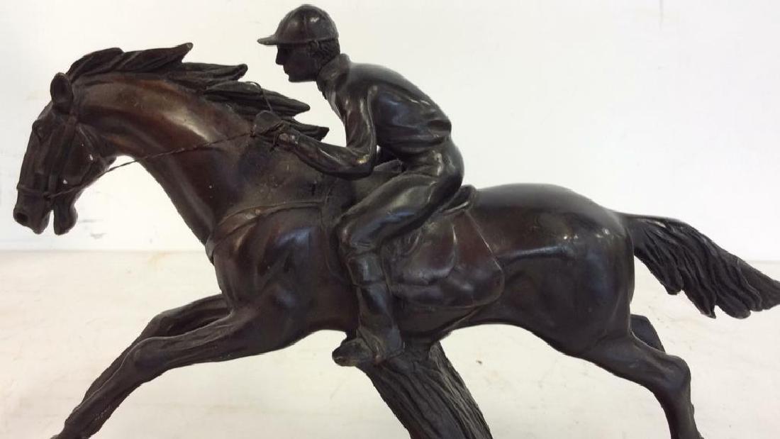 Metal Sculpture Jockey atop Racing Horse - 7