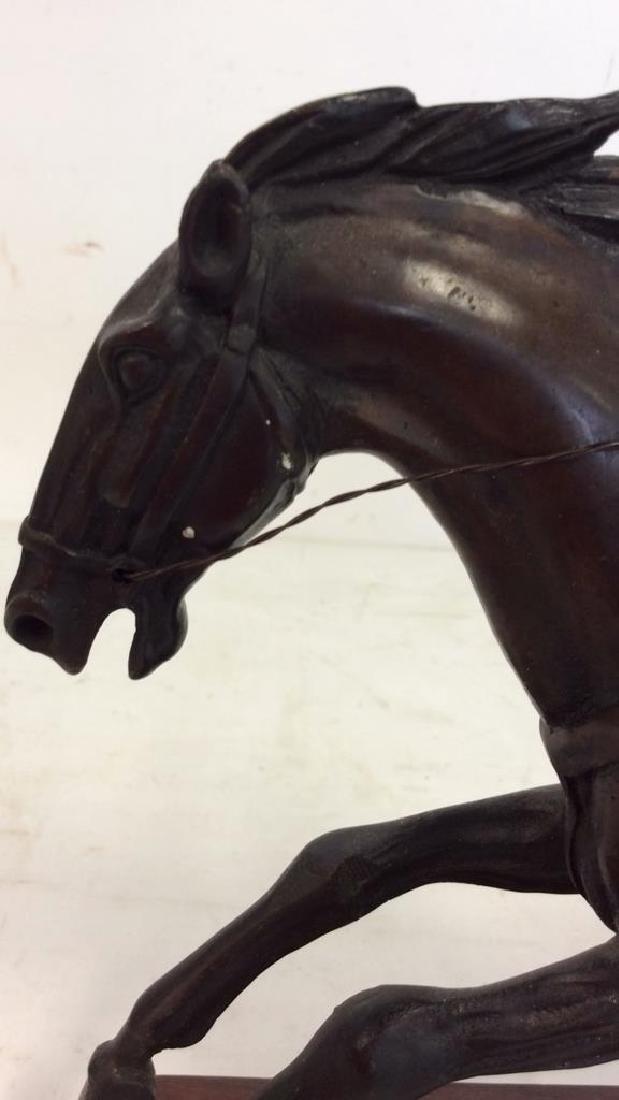 Metal Sculpture Jockey atop Racing Horse - 8