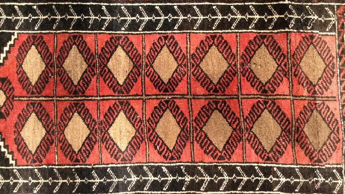 Antique Handmade Oriental Wool Rug W Fringes - 2