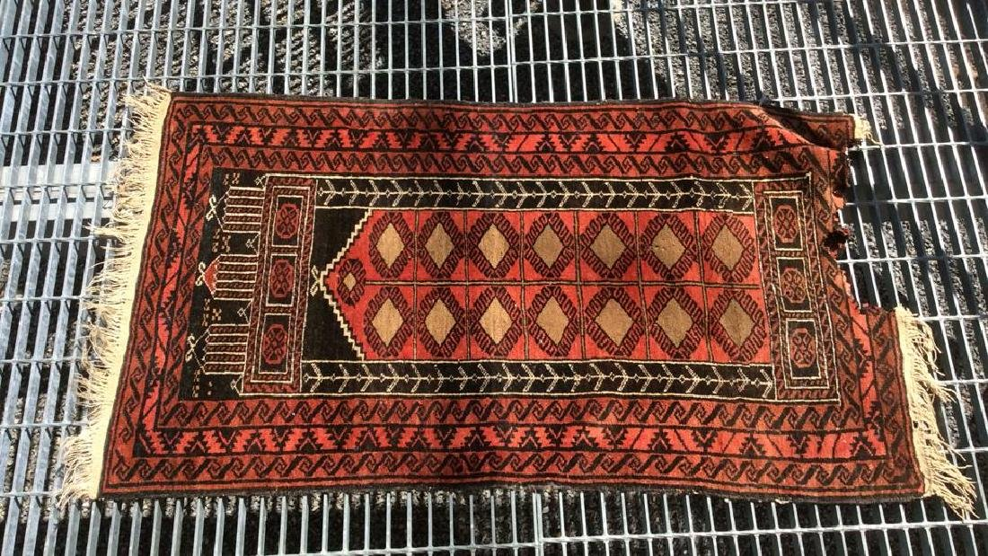 Antique Handmade Oriental Wool Rug W Fringes - 8