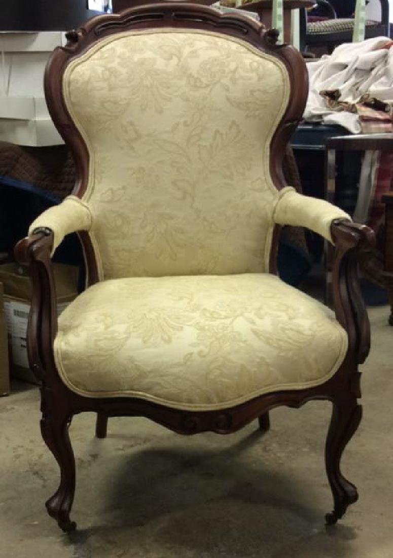 Carved Upholstered Victorian Parlor Chair Casters