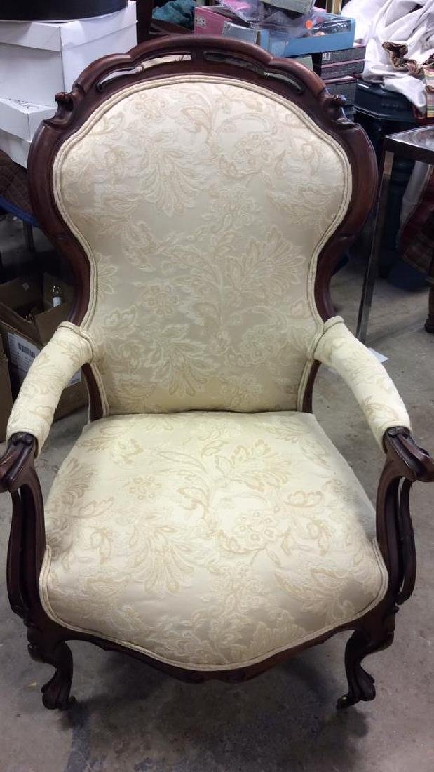 Carved Upholstered Victorian Parlor Chair Casters - 2