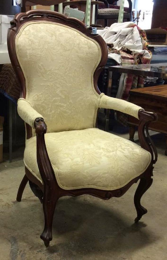 Carved Upholstered Victorian Parlor Chair Casters - 4