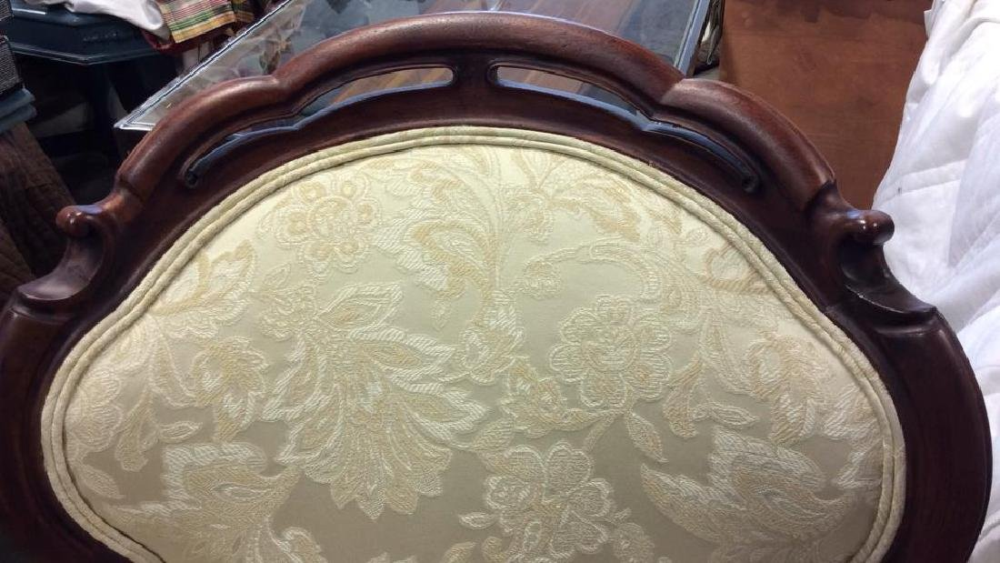 Carved Upholstered Victorian Parlor Chair Casters - 9