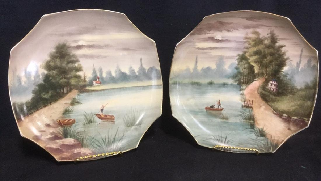 Pair Of Hand Painted French Porcelain Chargers