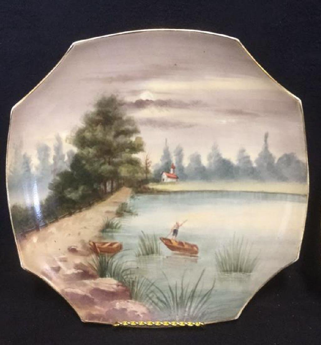 Pair Of Hand Painted French Porcelain Chargers - 4