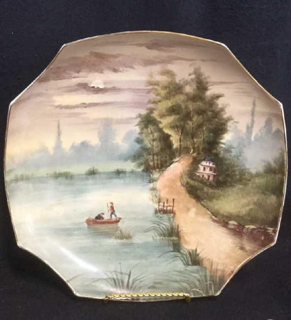 Pair Of Hand Painted French Porcelain Chargers - 5