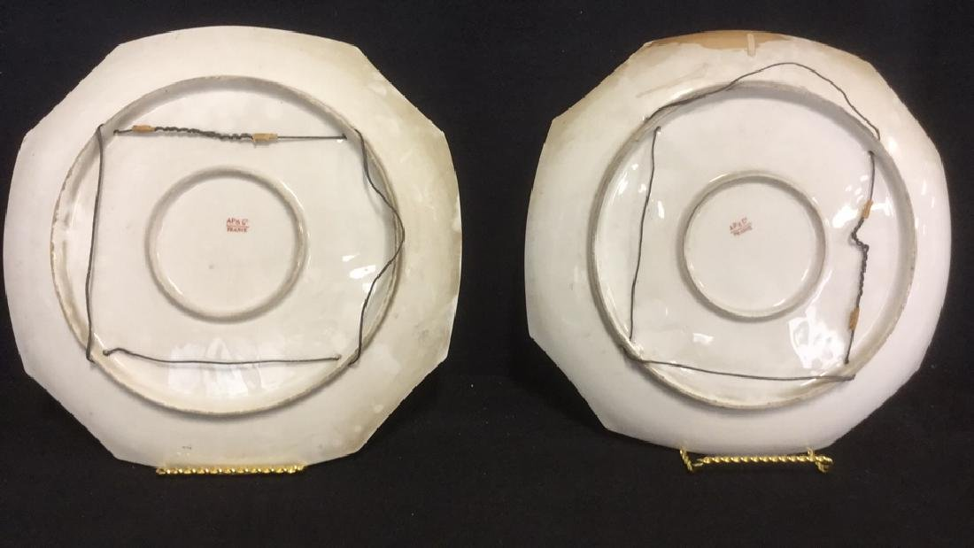 Pair Of Hand Painted French Porcelain Chargers - 8