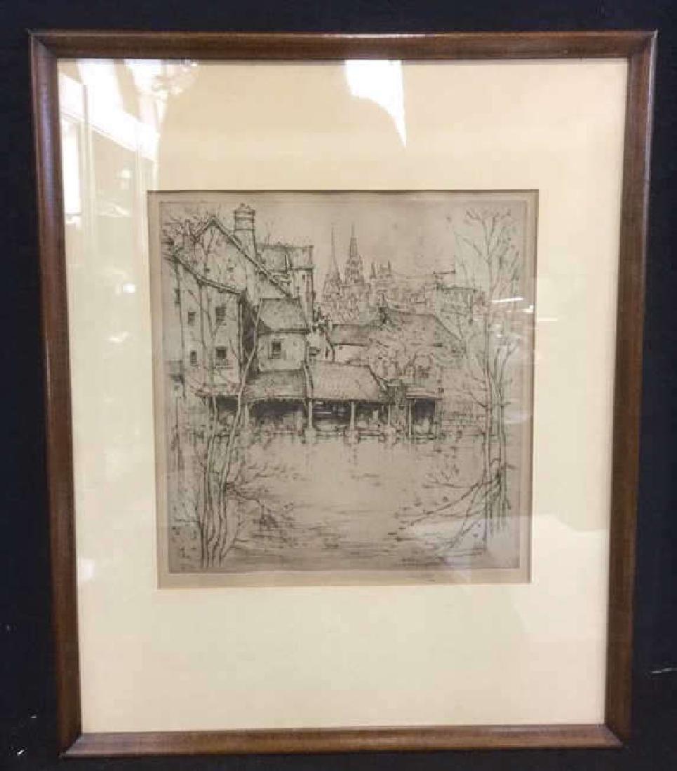 Framed Ernest D. Roth Etching, Homestead In Woods