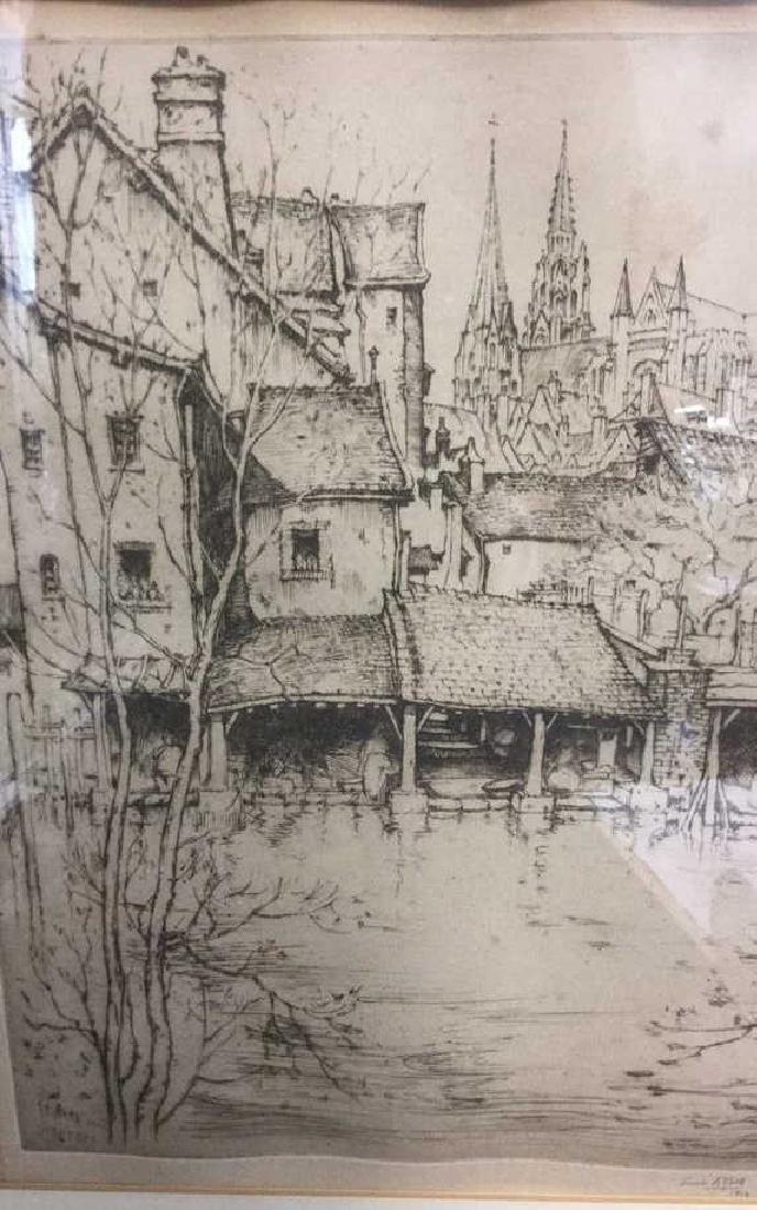 Framed Ernest D. Roth Etching, Homestead In Woods - 2