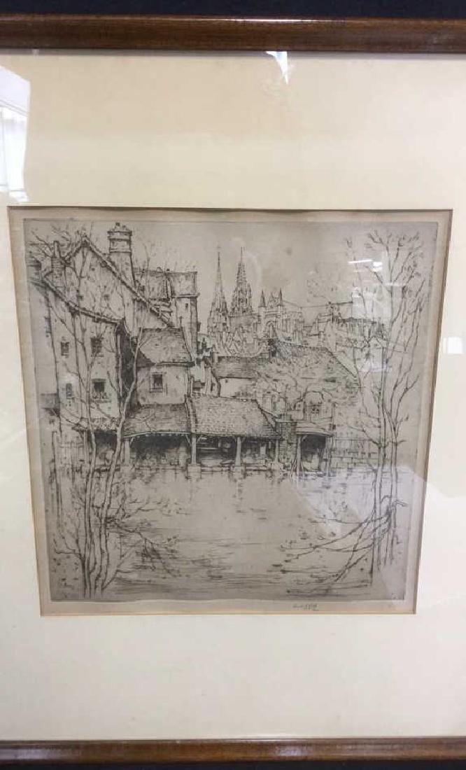 Framed Ernest D. Roth Etching, Homestead In Woods - 3
