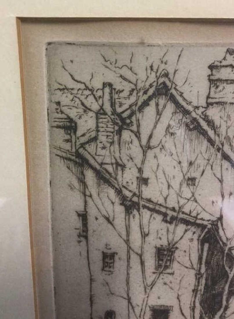 Framed Ernest D. Roth Etching, Homestead In Woods - 4