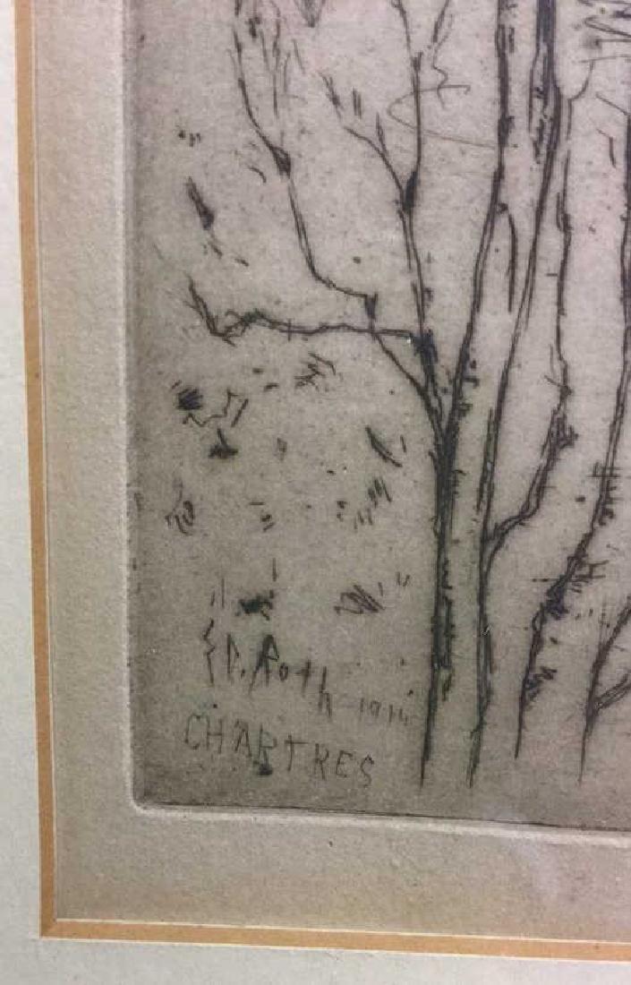 Framed Ernest D. Roth Etching, Homestead In Woods - 5