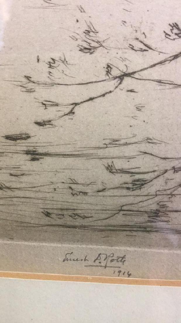 Framed Ernest D. Roth Etching, Homestead In Woods - 6