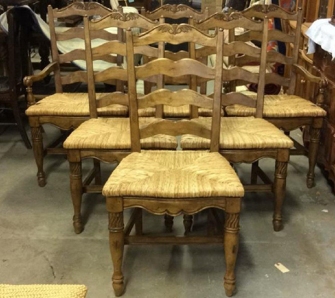 Set  6 Carved Wood French Dining Chairs