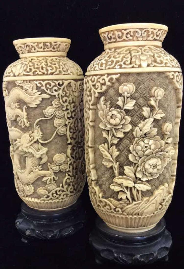 Pair Faux Ivory Carved Vases w Stands