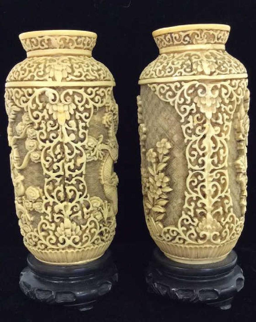 Pair Faux Ivory Carved Vases w Stands - 3