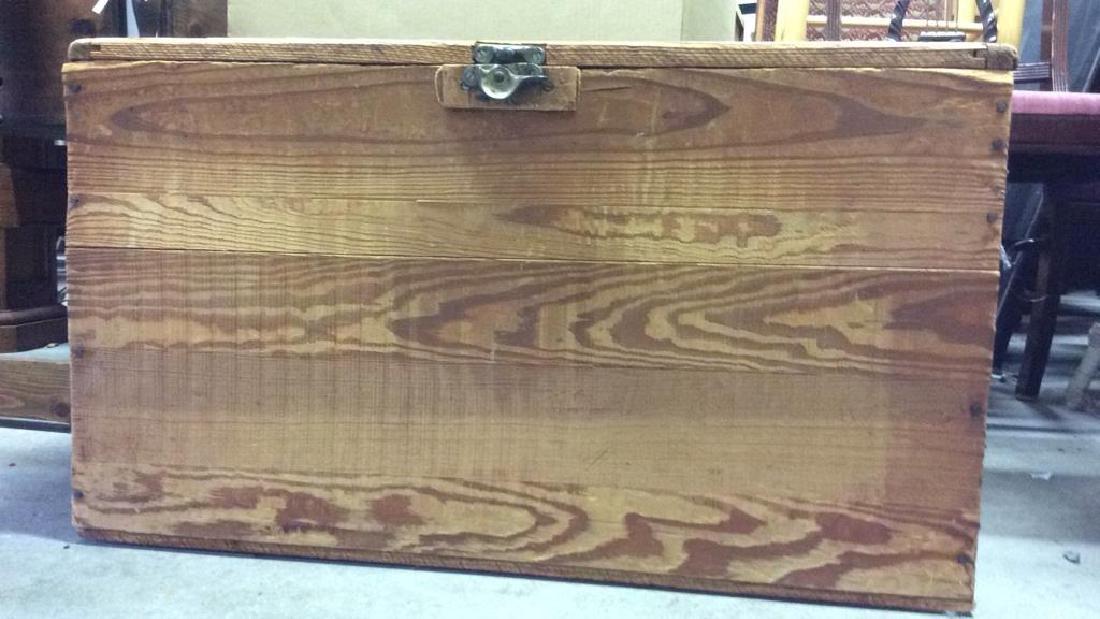 Vintage Wooden Chest Trunk W Handles - 3