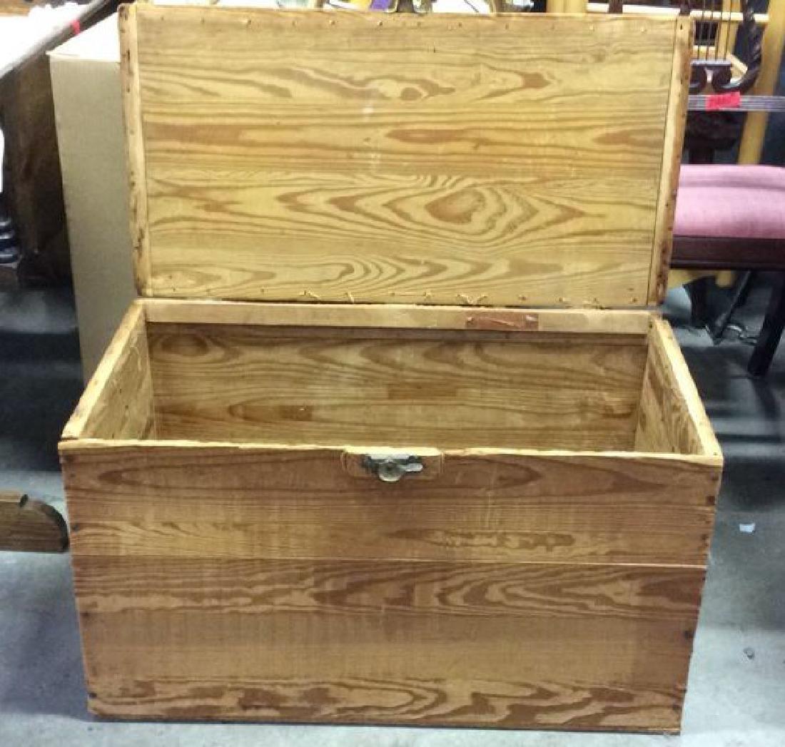 Vintage Wooden Chest Trunk W Handles - 4