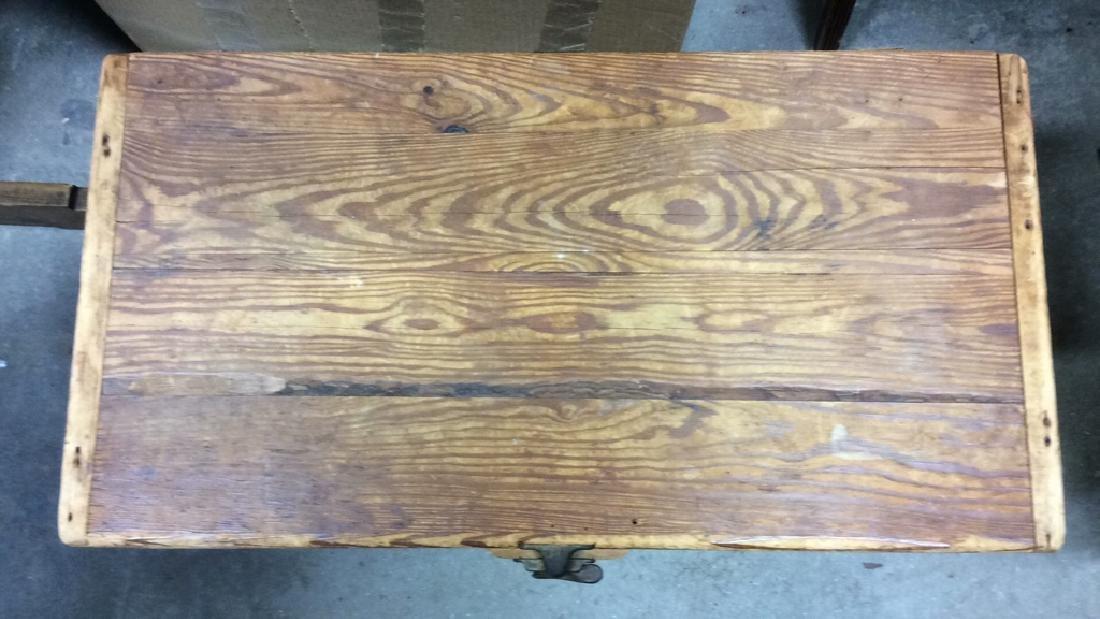 Vintage Wooden Chest Trunk W Handles - 6
