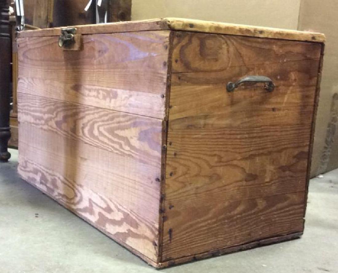Vintage Wooden Chest Trunk W Handles - 9