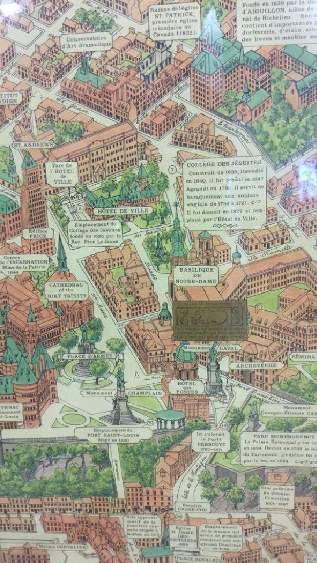 Framed Color Map Of Old Quebec by Marietta Boivin - 10