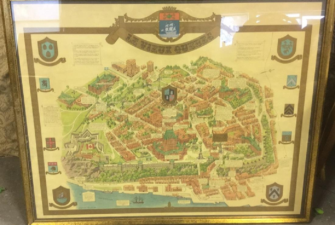 Framed Color Map Of Old Quebec by Marietta Boivin - 2