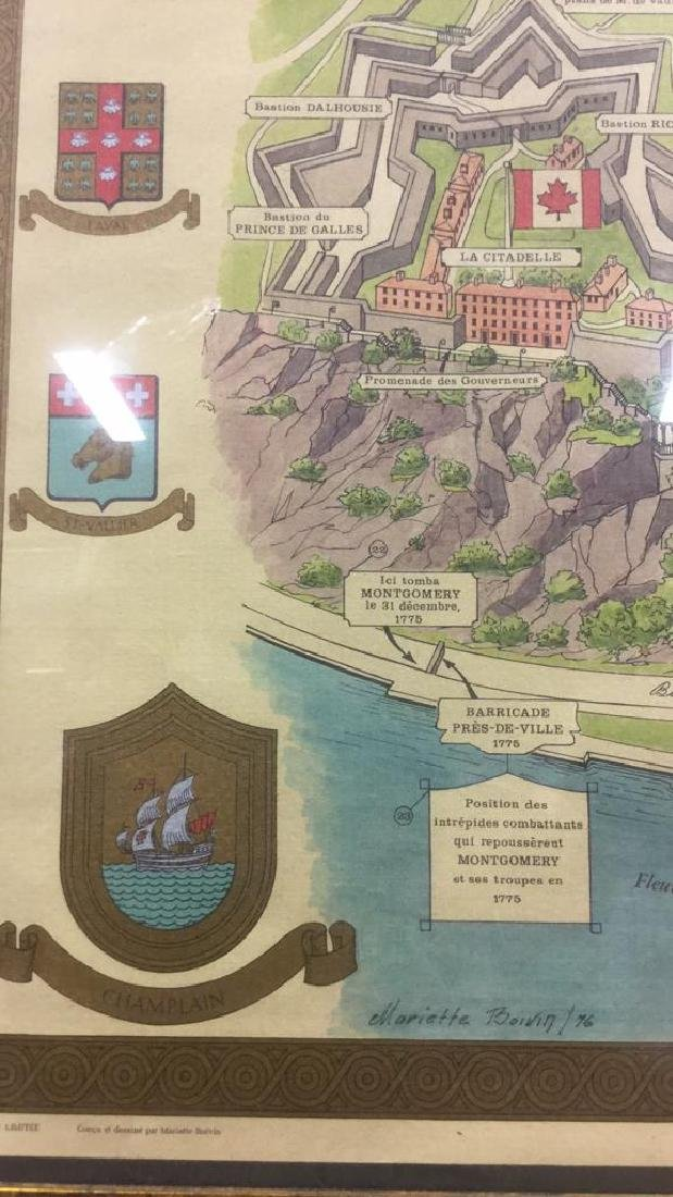 Framed Color Map Of Old Quebec by Marietta Boivin - 3