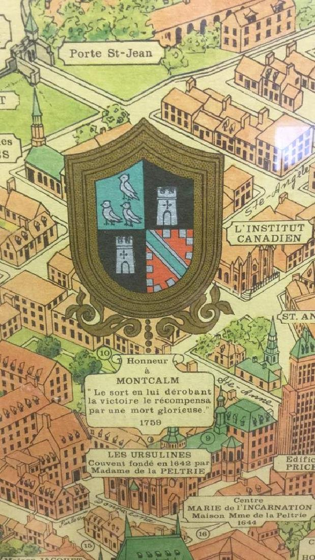 Framed Color Map Of Old Quebec by Marietta Boivin - 6