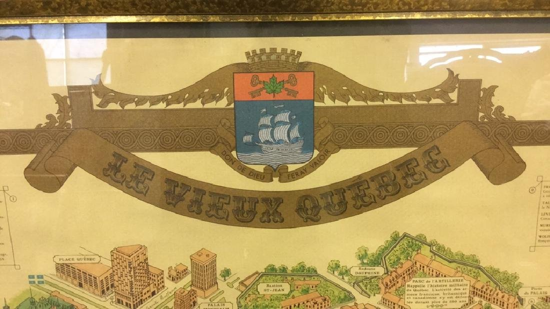 Framed Color Map Of Old Quebec by Marietta Boivin - 7