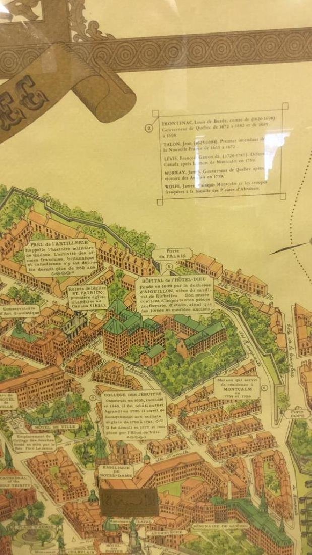 Framed Color Map Of Old Quebec by Marietta Boivin - 9