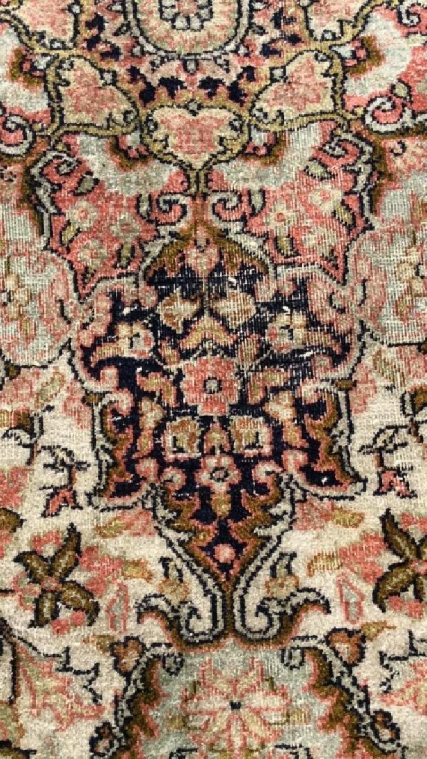 Pinked Toned Fringed Silk Rug - 6