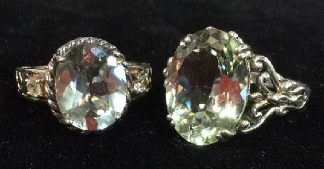 Lot 2 Sterling Silver Rings W Greens Gemstones