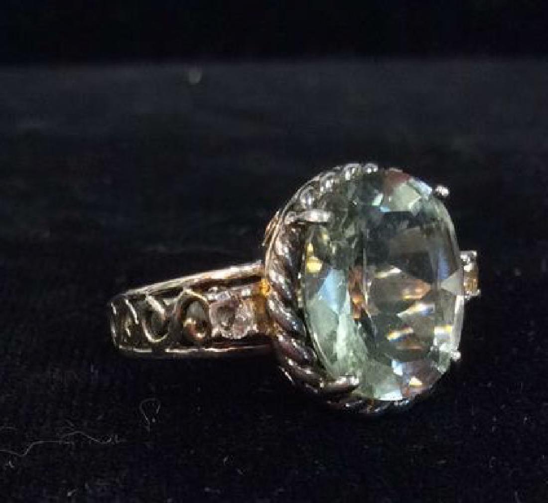 Lot 2 Sterling Silver Rings W Greens Gemstones - 7