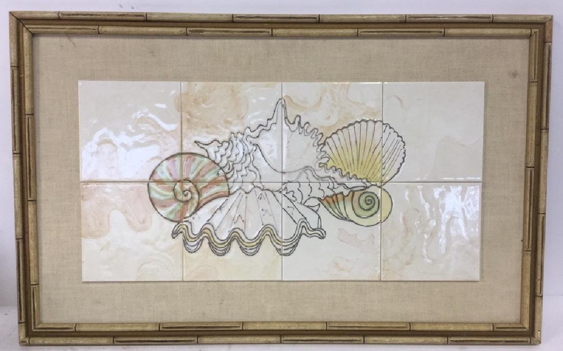 Harris Strong Framed Tiles Seashell Artwork