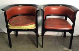 Pair Black Toned Wooden Chairs W Leather Cushions