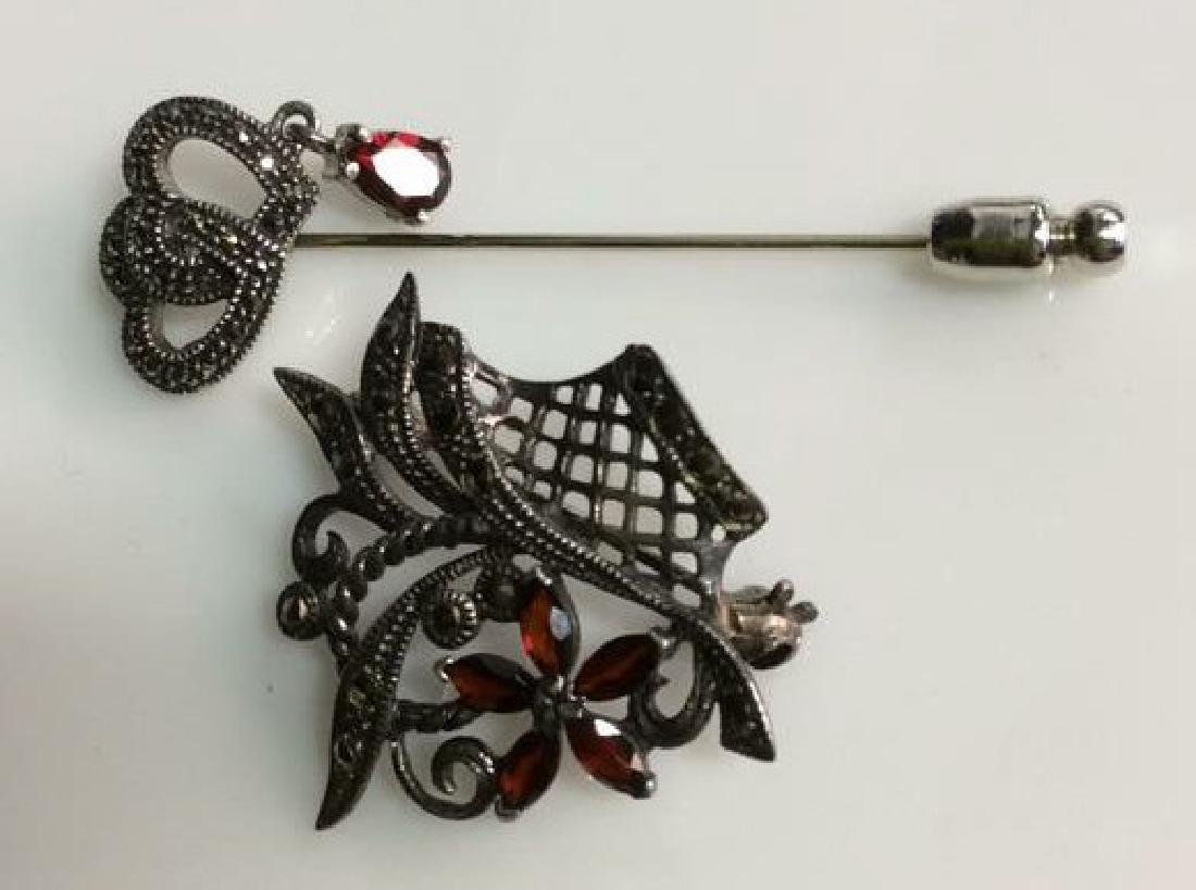 Pair Sterling Silver Marcasite Pins Jewelry