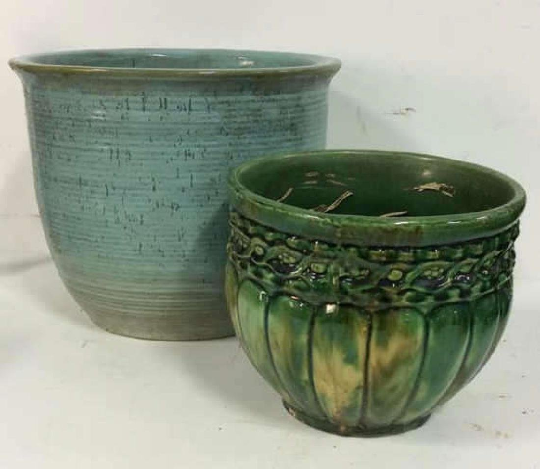 Lot 2 Glazed Ceramic Planters