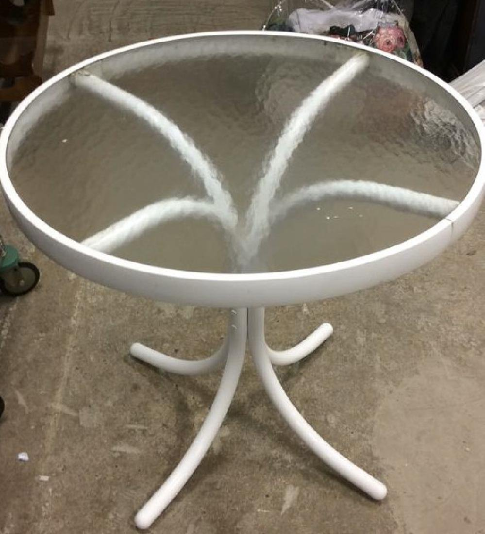 White Toned Metal Glass Top Outdoor Table