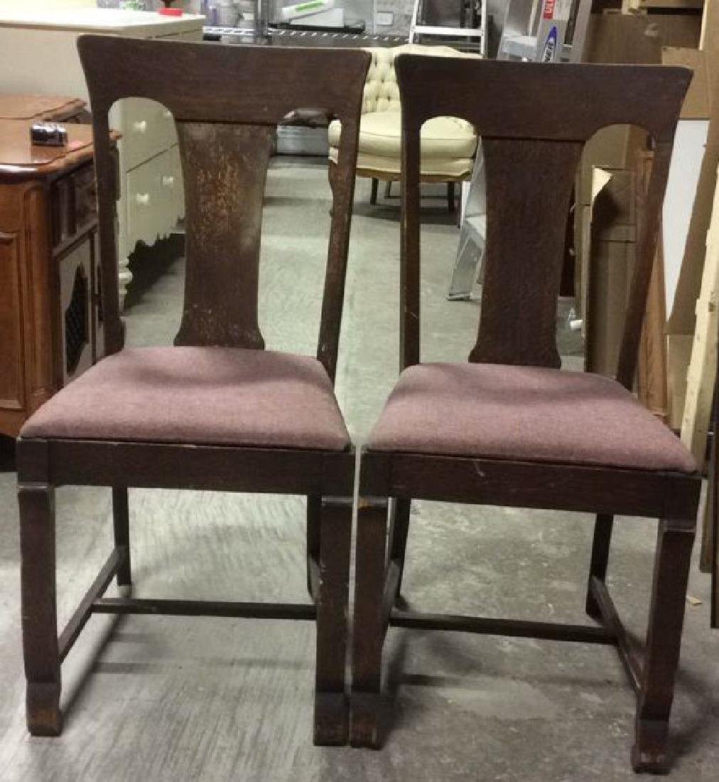 Pair Vintage Cushioned Oak Side Chairs