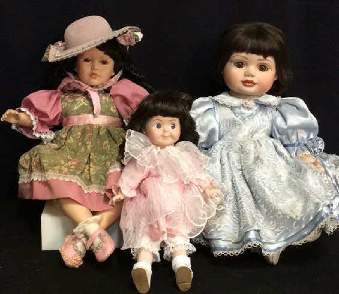 Lot 3 Assorted Porcelain Bodied Collectible Dolls