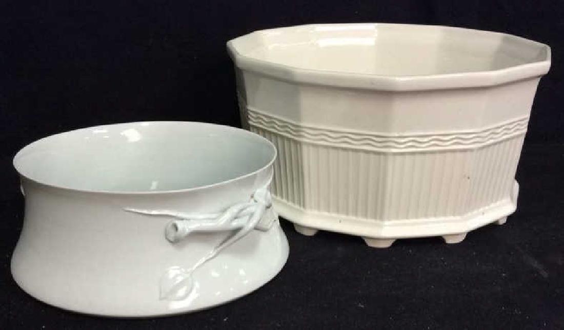 Pair White Toned Porcelain Planter Vases
