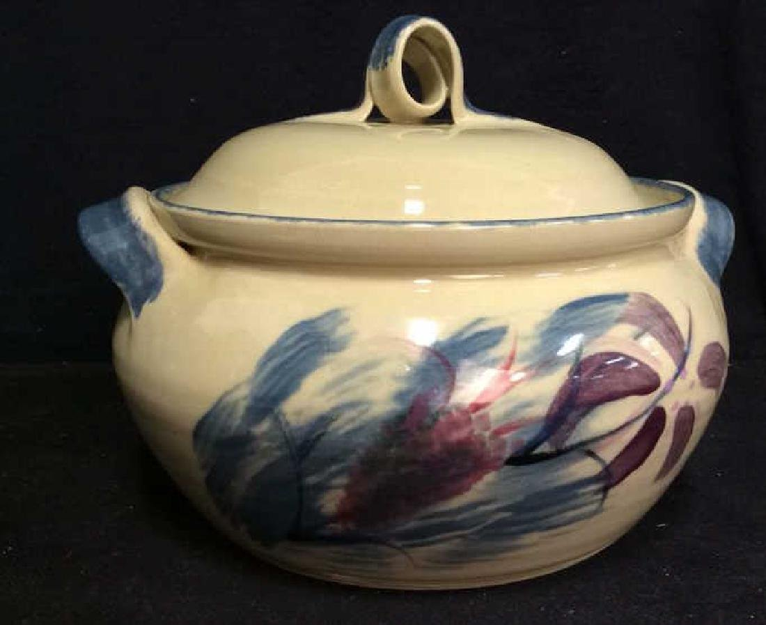 Floral Ceramic Soup Tureen W Lid, Signed