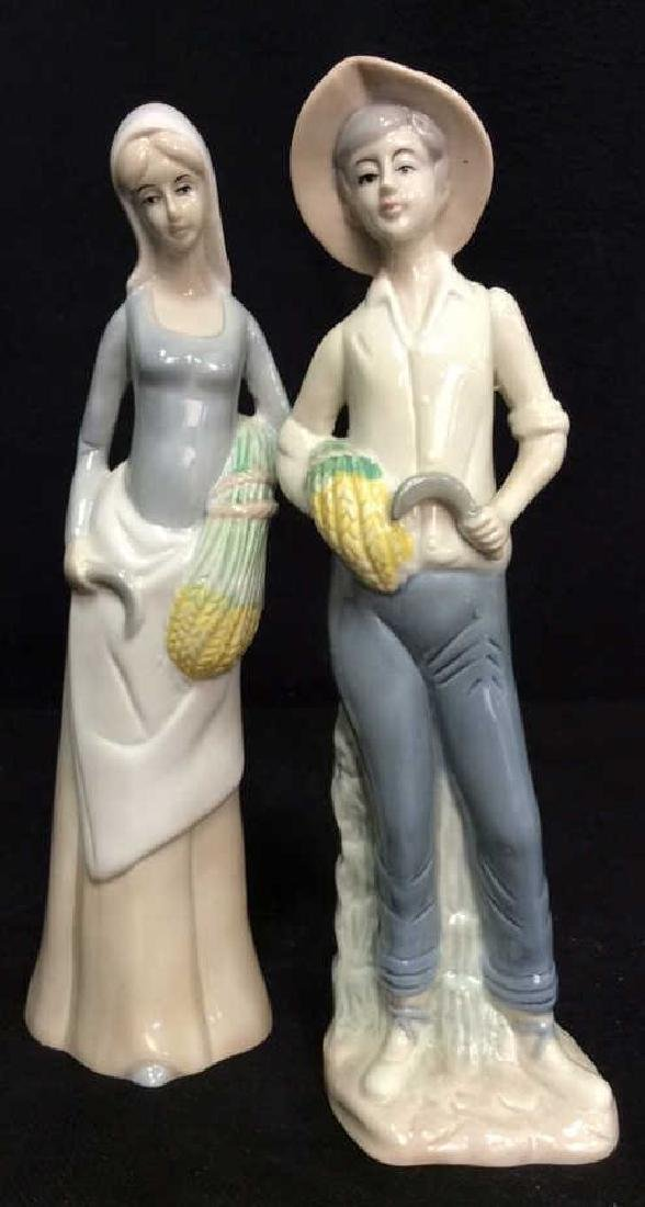 Pair Porcelain Figures Wheat Reapers