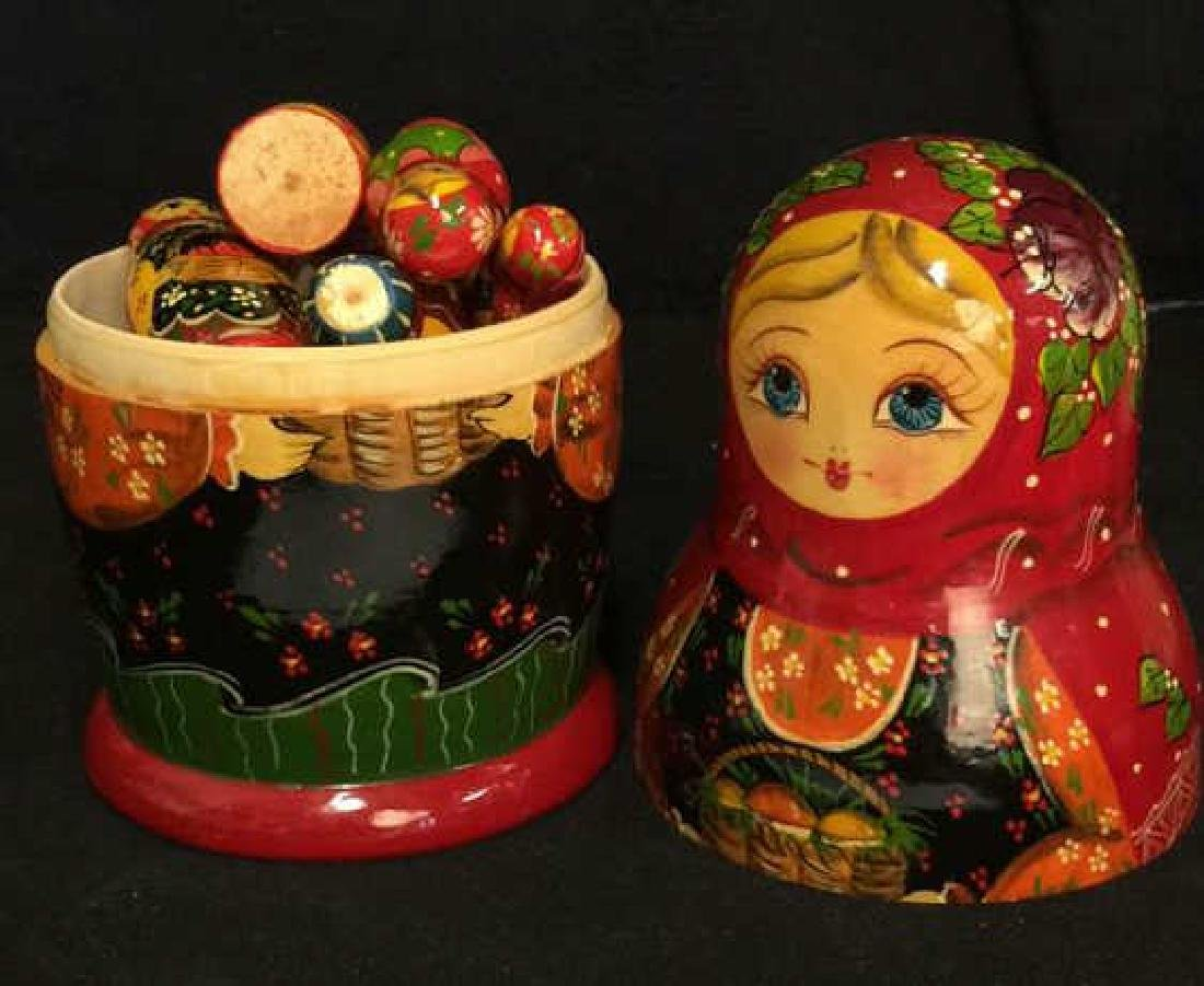 Pair Wooden Painted Russian Nesting Dolls