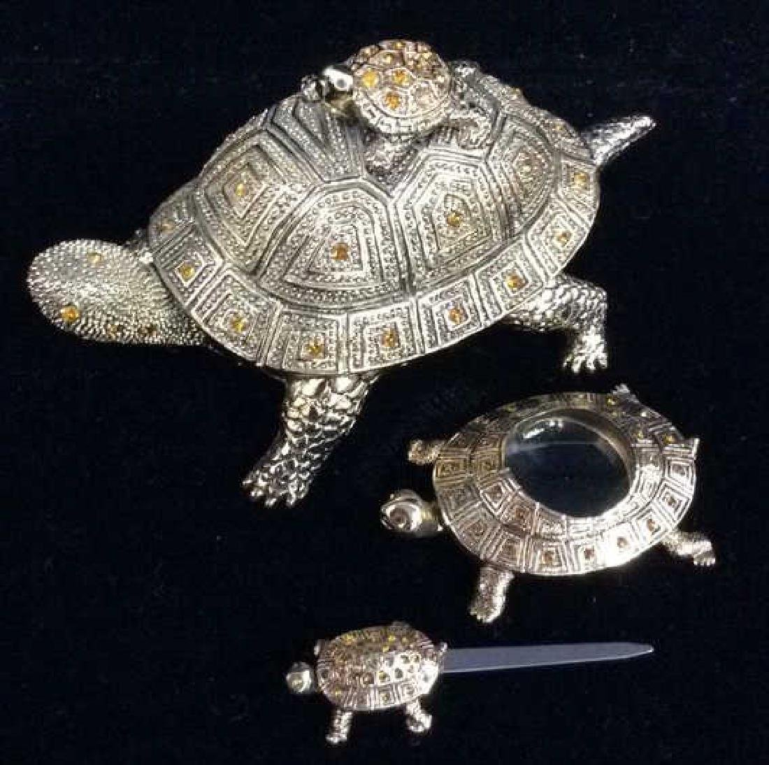 Desk Set Turtle Box Figural W Accessories