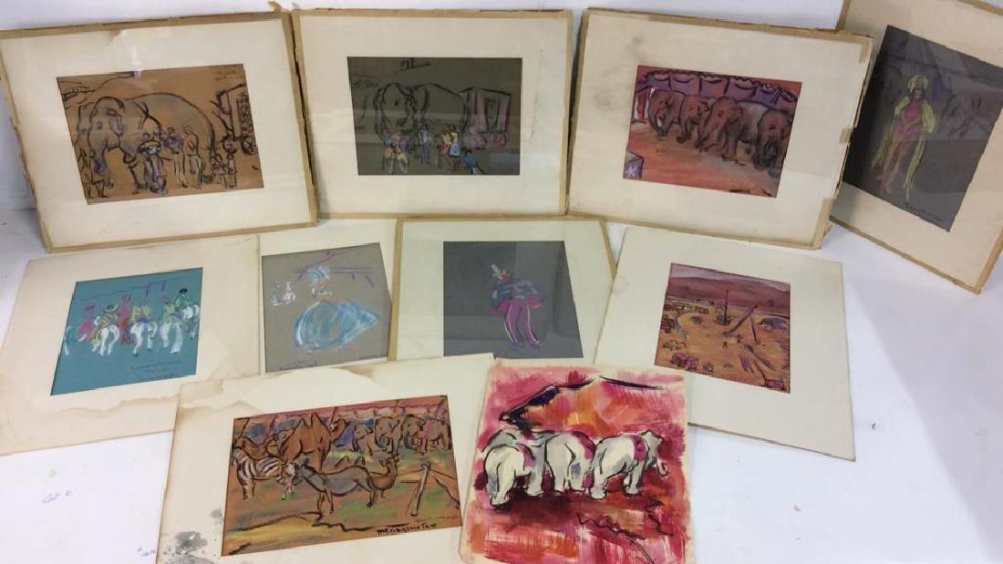 Lot 10 Grace Huntley Pugh Circus Pastel Drawings