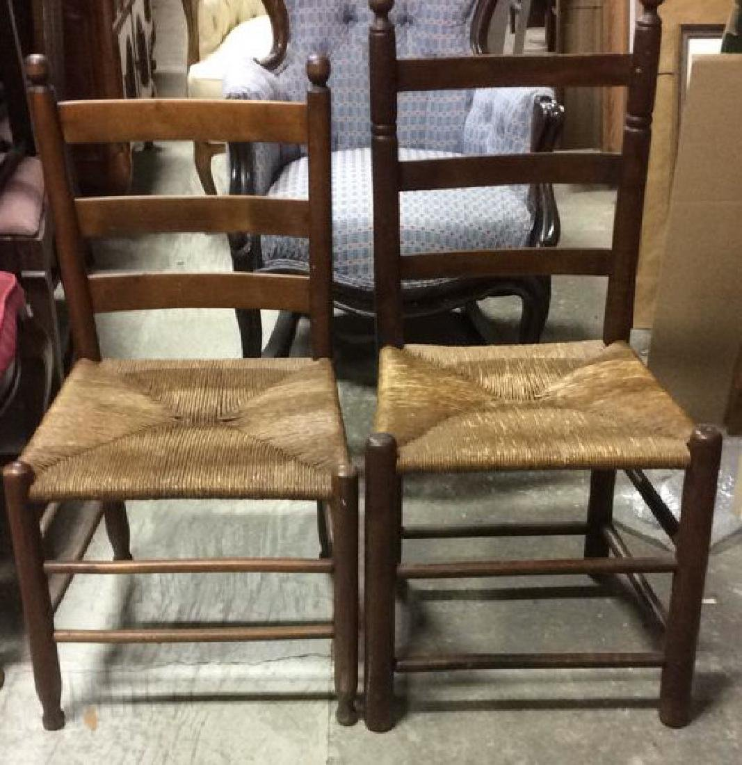 Lot 2 Rush Seat Antique Wood Side Chairs