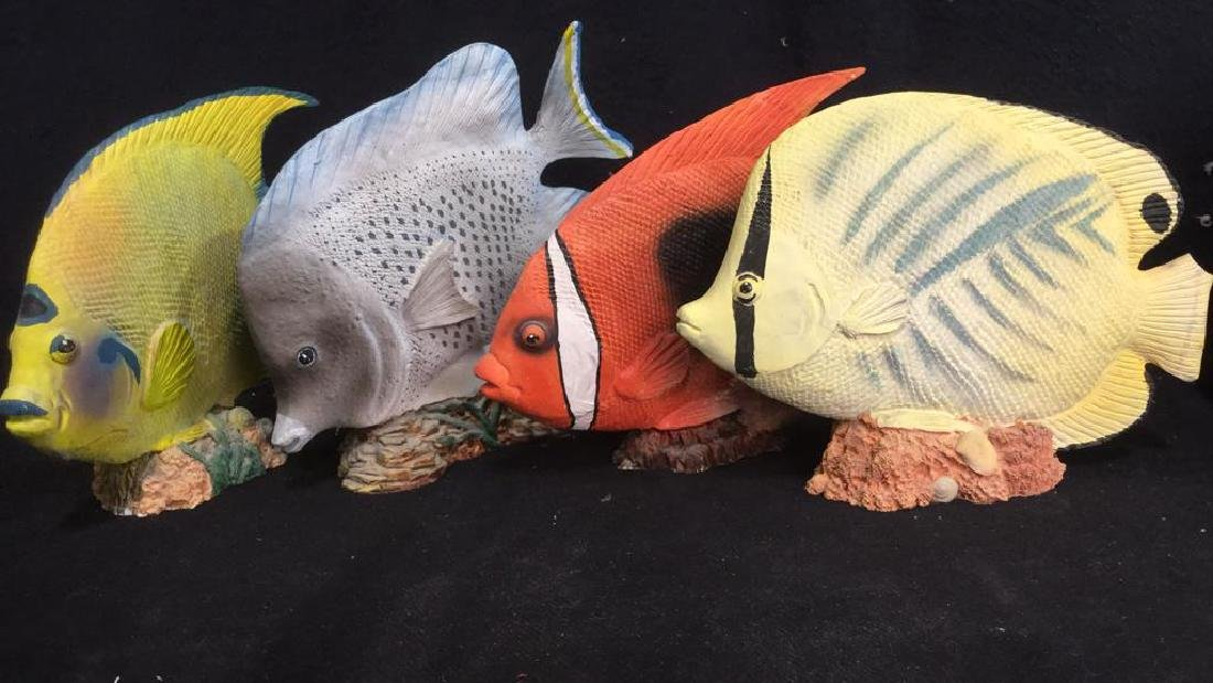 Group Lot Painted Composite Fish Sculptures